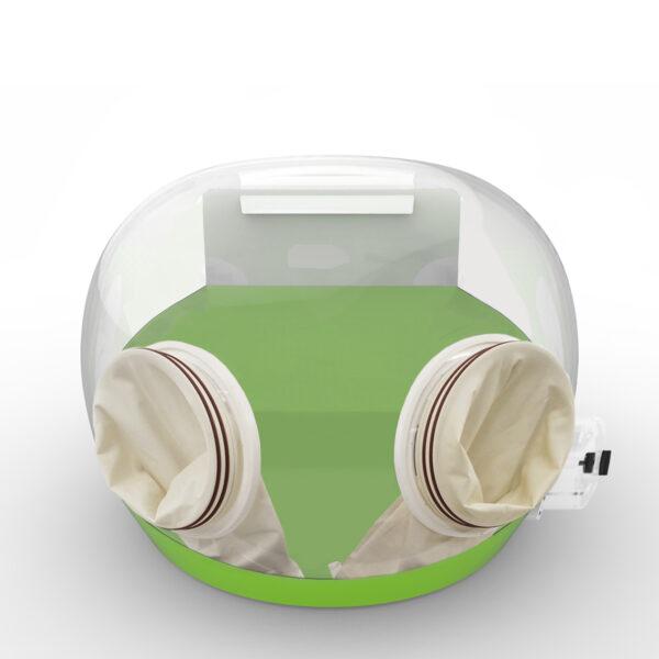 Green Portable laboratory enclosure with gauntlets
