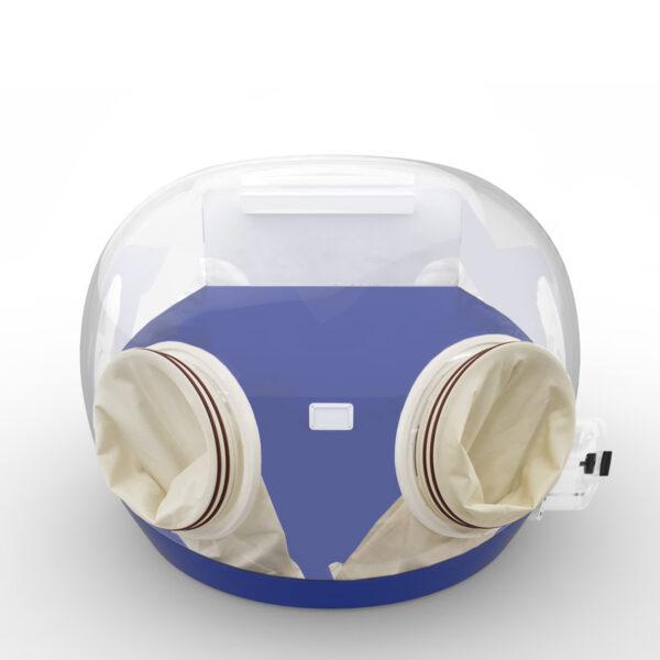 Blue portable laboratory enclosure with gauntlets
